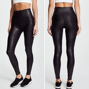 SPANX Black Faux Leather Shaping Ankle Leggings